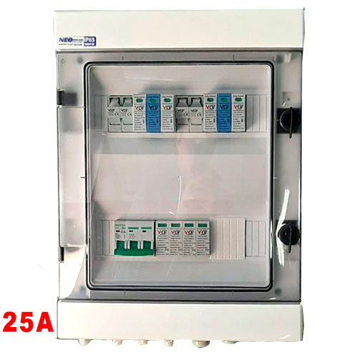 Skrzynka przyłączeniowa DC, 2MPPT, DC 2xT1+T2-isk+gaz, 2x bezp+podst, AC 1xT1+T2-3F, AC wył nadprądowy 25A - 3F